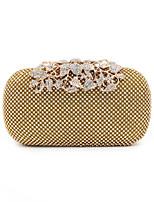 cheap -Women's Bags Acrylic / Silk Evening Bag Buttons / Crystals Gold / Black / Silver