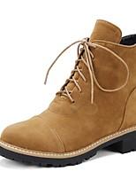 abordables -Femme Chaussures Polyuréthane Automne hiver Bottes à la Mode Bottes Talon Bas Bout rond Bottine / Demi Botte Noir / Amande
