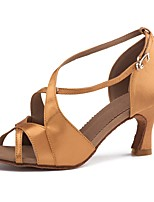 cheap -Women's Latin Shoes Satin Sandal / Heel Buckle Slim High Heel Customizable Dance Shoes Brown