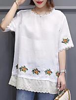 Недорогие -Жен. Рубашка Хлопок Цветочный принт