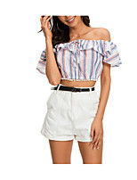 cheap -Women's Basic / Street chic T-shirt - Striped Ruffle