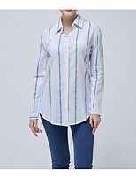 cheap -Women's Work Basic Cotton Slim Shirt - Solid Colored Shirt Collar