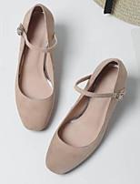 abordables -Mujer Zapatos Cuero de Napa Verano Confort Tacones Tacón Cuadrado Punta cerrada Hebilla Negro / Almendra