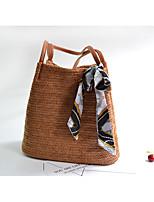 cheap -Women's Bags Straw Shoulder Bag Buttons Beige / Brown / Khaki