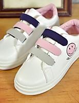 cheap -Women's Shoes PU(Polyurethane) Spring / Summer Comfort Sneakers Flat Heel Round Toe White / Gray / Pink