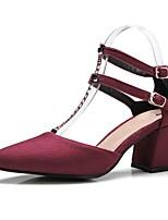 Недорогие -Жен. Обувь Полиуретан Весна лето Туфли лодочки Обувь на каблуках На толстом каблуке Заостренный носок Зеленый / Верблюжий / Винный