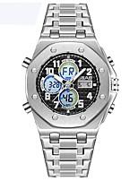 Недорогие -Муж. Спортивные часы Календарь / Защита от влаги / С двумя часовыми поясами сплав Группа На каждый день Серебристый металл
