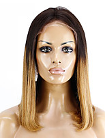 cheap -Remy Human Hair Lace Front Wig Brazilian Hair Straight Wig Bob Haircut / Short Bob 130% Soft / Silky / Women Brown Women's Short Human Hair Lace Wig / Natural Hairline