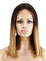 baratos -Cabelo Remy Frente de Malha Peruca Cabelo Brasileiro Liso Corte Bob / Bob curto 130% Densidade Macio / Sedoso / Feminino Marrom Mulheres Curto Perucas de Cabelo Natural / Riscas Naturais