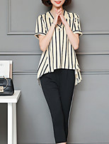 abordables -Mujer Sofisticado Blusa - Un Color / A Rayas Pantalón