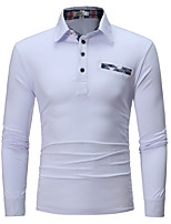 cheap -Men's Cotton Polo - Solid Colored Shirt Collar / Please choose one size larger according to your normal size. / Long Sleeve