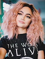 cheap -Synthetic Wig / Synthetic Lace Front Wig Straight Pink Short Bob / Middle Part Synthetic Hair Adjustable / Heat Resistant / Ombre Hair Pink Wig Women's Short Lace Front / African American Wig / Yes