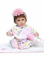 Недорогие -NPKCOLLECTION Куклы реборн Девочки 18 дюймовый Винил - Искусственная имплантация Коричневые глаза Детские Девочки Подарок