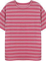 cheap -Women's Cotton Loose T-shirt - Solid Colored / Striped Patchwork