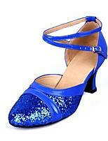 preiswerte -Damen Schuhe für modern Dance Kunstleder Sandalen Pailetten Kubanischer Absatz Maßfertigung Tanzschuhe Silber / Rot / Blau