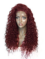 cheap -Synthetic Lace Front Wig Curly Layered Haircut Synthetic Hair With Baby Hair / Heat Resistant / Elastic Burgundy Wig Women's Long Lace Front Wig / Yes