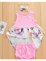 cheap -Baby Girls' Solid Colored / Floral / Color Block Sleeveless Clothing Set