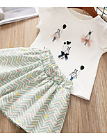 cheap -Kids Girls' Solid Colored / Striped Sleeveless Clothing Set