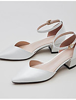cheap -Women's Shoes Nappa Leather Summer Comfort Heels Chunky Heel Closed Toe Buckle White / Pink / Almond