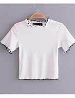 cheap -Women's Basic T-shirt - Solid Colored Ruffle / Patchwork