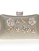 cheap -Women's Bags Polyester / Alloy Evening Bag Pearls / Flower Gold / Black / Silver