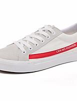 Недорогие -Жен. Обувь Полотно Весна лето Удобная обувь Кеды На плоской подошве Круглый носок Белый / Черный / Красный