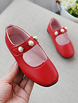 cheap -Girls' Shoes PU(Polyurethane) Spring & Summer Comfort / Flower Girl Shoes Flats Walking Shoes Imitation Pearl for Teenager Red / Pink / Dark Brown