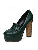 cheap -Women's Shoes PU(Polyurethane) Spring & Summer Basic Pump Heels Chunky Heel Round Toe Black / Green