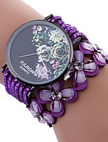 cheap -Xu™ Women's Bracelet Watch / Wrist Watch Chinese Creative / Casual Watch / Adorable PU Band Flower / Fashion Black / White / Blue