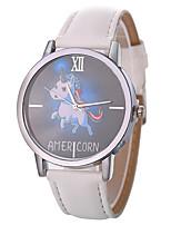 preiswerte -Xu™ Damen Kleideruhr / Armbanduhr Chinesisch Kreativ / Armbanduhren für den Alltag / Großes Ziffernblatt PU Band Zeichentrick / Modisch Schwarz / Weiß / Blau / Ein Jahr