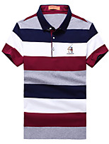 cheap -Men's Cotton Polo - Striped / Color Block Shirt Collar / Short Sleeve