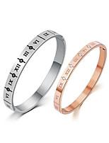 abordables -Homme Zircon Bracelets Rigides - Or rose simple, Coréen, Mode Bracelet Argent / Or Rose Pour Quotidien / Rendez-vous