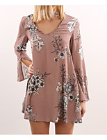 baratos -Mulheres Blusa Básico / Moda de Rua Estampado, Floral