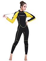 cheap -Women's Full Wetsuit 3mm SCR Neoprene Diving Suit Anatomic Design, UV Resistant Long Sleeve Back Zip Solid Colored Autumn / Fall / Spring / Winter