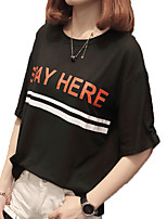 cheap -Women's Basic Cotton T-shirt - Letter Print / Summer