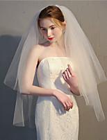 Недорогие -Два слоя Цветочный дизайн / Сетка / Платье-трансформер Свадебные вуали Фата до локтя С Бахрома 35,43 В (90 см) Полиэфир / Тюль