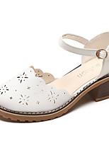 Недорогие -Жен. Обувь Полиуретан Лето Удобная обувь Обувь на каблуках На толстом каблуке Круглый носок Белый / Бежевый