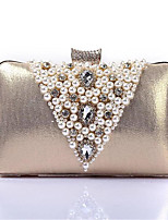 cheap -Women's Bags Polyester Clutch Pearls Champagne / Black / Silver