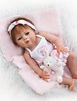 abordables -NPKCOLLECTION Muñecas reborn Bebés Niñas 22 pulgada Cuerpo completo de silicona / Silicona / Vinilo - Artificial Implantation Brown Eyes Kid de Chica Regalo