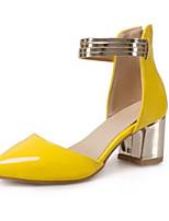 baratos -Mulheres Sapatos Couro Envernizado Primavera Plataforma Básica Saltos Salto Robusto Dedo Apontado Amarelo / Fúcsia / Rosa claro