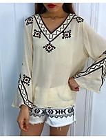 baratos -Mulheres Blusa Vintage Franjas, Sólido Preto & Branco