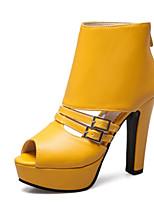 abordables -Femme Chaussures Polyuréthane Printemps été Botillons Bottes Talon Bottier Bout ouvert Bottine / Demi Botte Blanc / Noir / Jaune / Soirée & Evénement