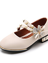 cheap -Girls' Shoes Faux Leather Spring / Fall Comfort / Flower Girl Shoes Heels Rhinestone / Imitation Pearl / Magic Tape for Kids Black / Beige / Pink / Wedding / Party & Evening