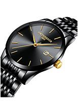 baratos -Homens Relógio de Pulso Japanês Novo Design / Cronógrafo / Criativo Aço Inoxidável Banda Fashion / Elegante Preta / Prata / Dourada