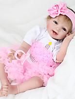 baratos -NPK DOLL Bonecas Reborn Bebês Meninas 22 polegada realista, Olhos Castanhos de Implantação Artificial de Criança Para Meninas Dom