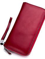 cheap -Women's Bags Cowhide Wallet Zipper Brown / Wine / Royal Blue