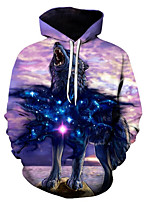 cheap -Men's Basic / Exaggerated Hoodie - 3D / Cartoon, Print