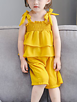 cheap -Baby Girls' Solid Colored Sleeveless Clothing Set