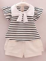 economico -Bambino (1-4 anni) Da ragazza A strisce Manica corta Completo