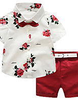 cheap -Toddler Boys' Solid Colored / Floral Short Sleeve Clothing Set